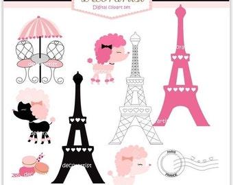 ON SALE French poodle digital clipart., bonjour Paris, french style, paris clipart, INSTANT Download