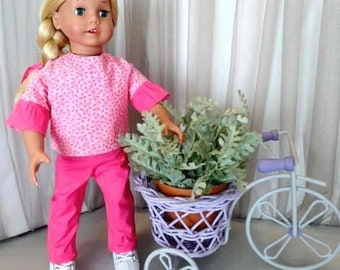 bfd9708922b094 Hot Pink Doll Pants and Pink Doll Blouse with Contrast Ruffle Sleeves / 18  Inch Doll Clothes / Doll Accessories / Fits American Girl Doll