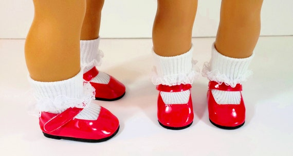 Red Mary Jane Doll Red Bow Shoes and White Lace Socks with White Bows and Pearl Beads  Doll Accessories  Fits American Girl Doll