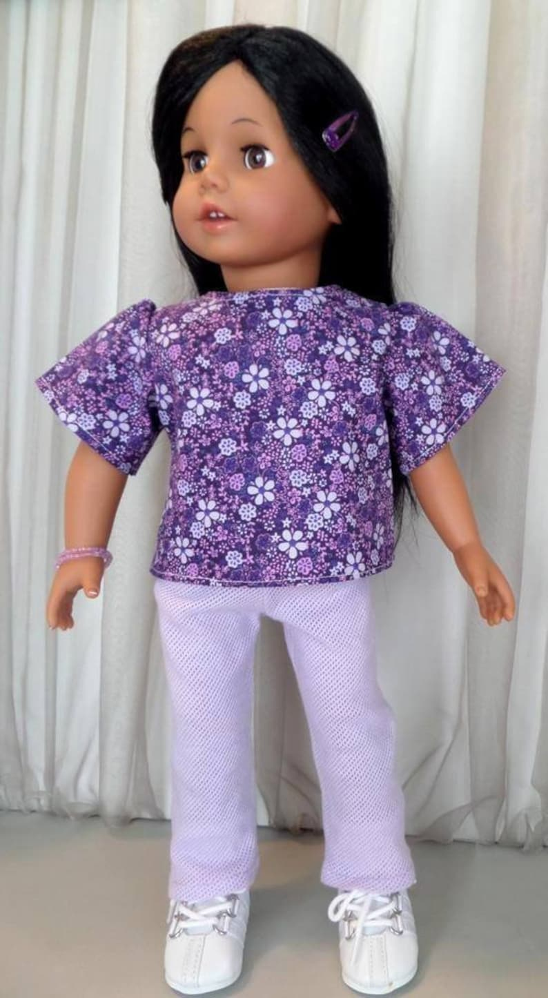 Lavender Short Sleeve T-Shirt Made To Fit American Girl Doll Dolls Clothes