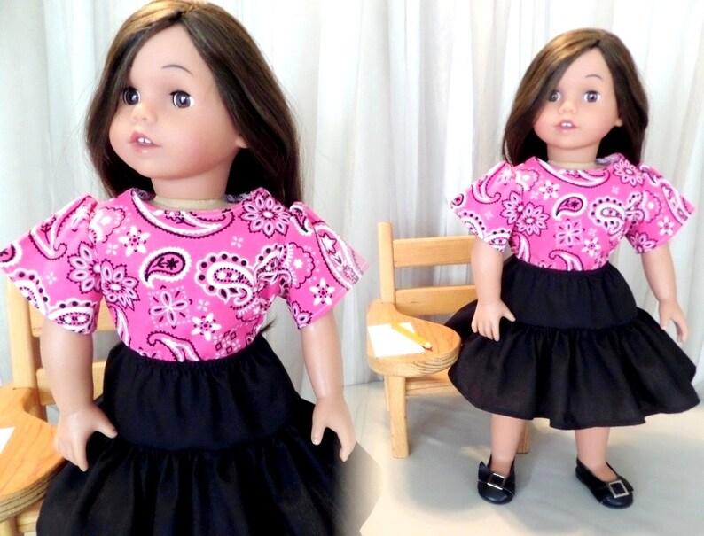 7cc010478b1342 Black Doll Skirt and Pink Bandana Doll Blouse / Black Knee | Etsy