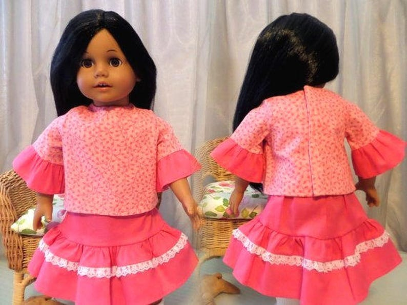 d67938ae0472b2 Pink Twirl Doll Skirt and Pink Doll Blouse with Contrast | Etsy