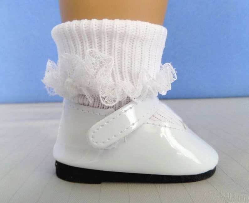 a07c46c6a7f30 White Mary Jane Doll Shoes and White Lace Doll Socks / Doll Accessories /  18 Inch Doll Clothes / First Communion / Fits American Girl Doll