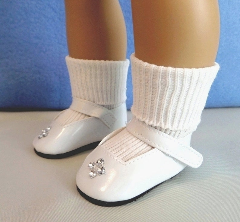 ab807dcb0fad1 First Communion - White Mary Jane Rhinestone Doll Shoes and White Ankle  Doll Socks / Doll Accessories / Confirmation / American Girl Doll