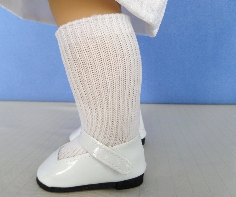 865c87a6c08b1 White Mary Jane Shoes and White Knee-High Socks / Doll Accessories / 18  Inch Doll Clothes / First Communion / Fits American Girl Doll