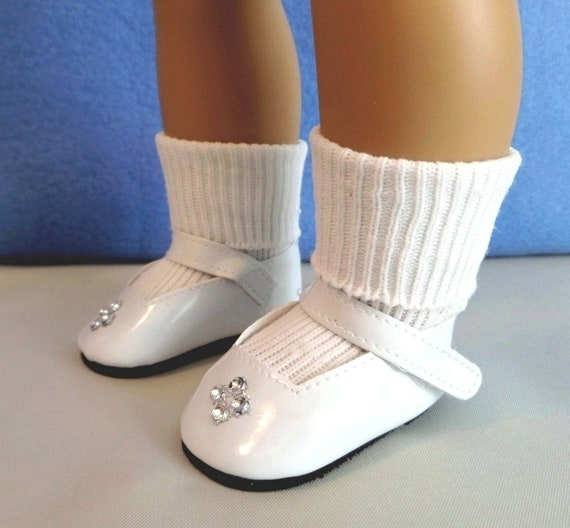 96f2132bde02f White Mary Jane Rhinestone Doll Shoes and White Ankle Doll Socks / 18 Inch  Doll Clothes / Doll Accessories / Fits American Girl Doll