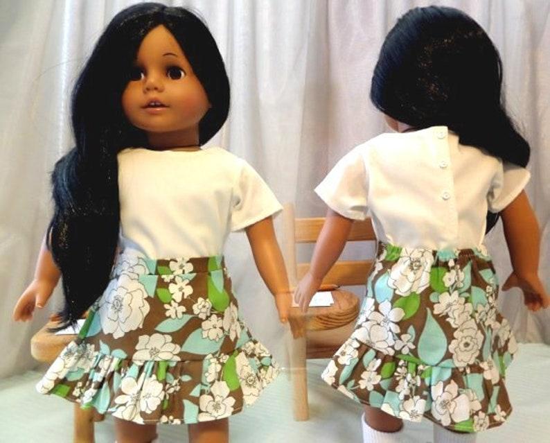 9c457677315ac1 Doll Skirt and White Short Sleeve Doll Blouse / Doll Shirt / | Etsy