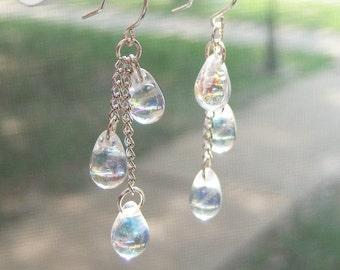 Iridescent Teardrop Earrings - Clear Rainbow Czech Glass Beaded Chains