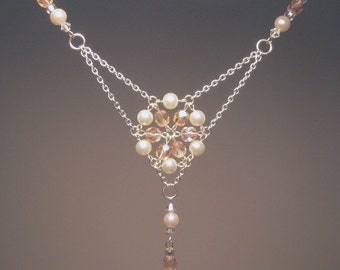 Vintage Inspired Flower Necklace - Silver Beadwork Necklace with Pink Czech Glass Beads and White Pearls