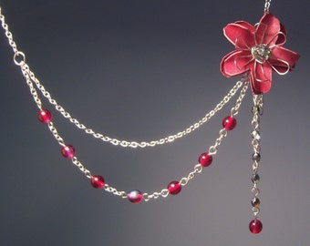 Red Flower in Chains Asymmetric Necklace with Czech Glass Beads