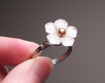 White Lucite Flower Wire Wrapped Ring - Custom Colors and Sizing