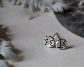 Single Pentacle Star Molten Silver Stud -made to order