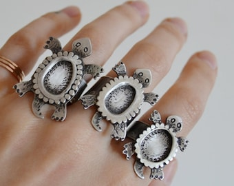Your Custom Turtle Totem Silver Ring