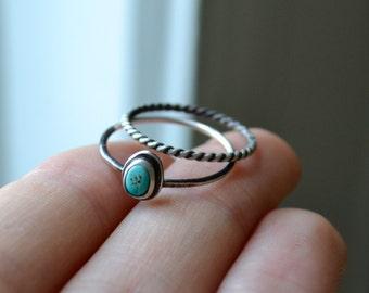 Morenci Turquoise Dark Silver Ring Stacking Set