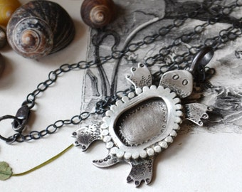 Your Custom Turtle Totem Silver Necklace
