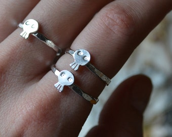 Silver Samhain Skull Ring- your size made to order