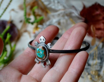 Your Custom Turquoise Turtle Silver Cuff