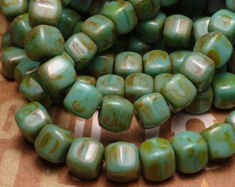 Turquoise Picasso Glass Cube Bead 6mm - 10pc
