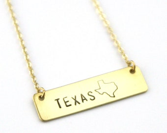 Texas Bar Necklace | Lone Star State Jewelry | State Necklace | Layering Necklace | State Pride | Personalize | Going Away Gift | Moving
