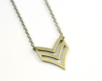 Chevron Geometric Necklace | Brass Modern Geometric Necklace | Chevron Charm Necklace | Layering Necklace | Christmas Gift