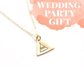 Gold Brass Triangle Tee Pee Necklace | My Tribe Necklace | Wedding Party Gift | Girl Tribe | Girl Gang | Bridesmaids Gift | Bridesmaid