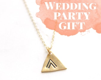 Tribal Boho Triangle Geometric Brass Necklace | Bridesmaid Gift | Chevron Gold Layering Necklace | Bohemian Wedding | Gold Layering Necklace