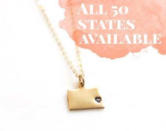 Kansas Custom Stamped State Necklace | Brass Jewelry | Bridesmaids Gifts | Best Friend Gift | Custom Hometown | Personalized City Necklace