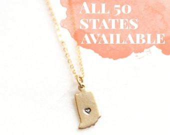 Indiana State Brass Custom Stamped Necklace | Hometown Jewelry | Keepsake Necklace | Best Friend Gift | Bridesmaids gifts | Moving Gift |