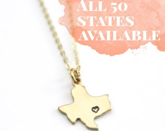 Texas State Heart Personalized Necklace | Austin Jewelry | Lone Star State | Moving Gift | Bridesmaid Gift | Best Friend Gift | Keepsake