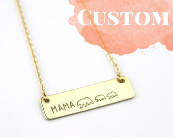 Mama Bear Bar Necklace | Gift For Mom | Baby Shower Gift | Baby Bear | Gift For New Mom | Jewelry For Mom | Personalize | Mother's Day
