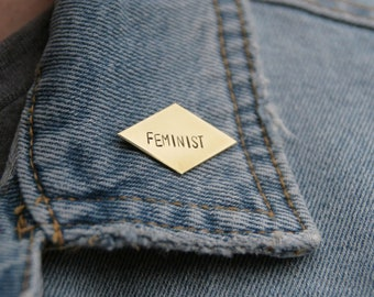 Feminist Brass Diamond Pin | Feminism Jewelry | Equal Rights | Women's Rights | The Future is Female | Gold Pin | Girlfriend Gift