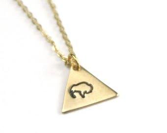 Buffalo Geometric Hand Stamped Necklace   Texas Southwestern Boho Necklace   Woodlands Necklace  Folk American