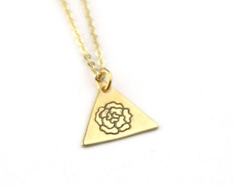 Peony Brass Stamped Triangle Necklace | Flower Necklace | Nature Necklace | Bridesmaid Jewelry | Geometric Jewelry | Floral Necklace