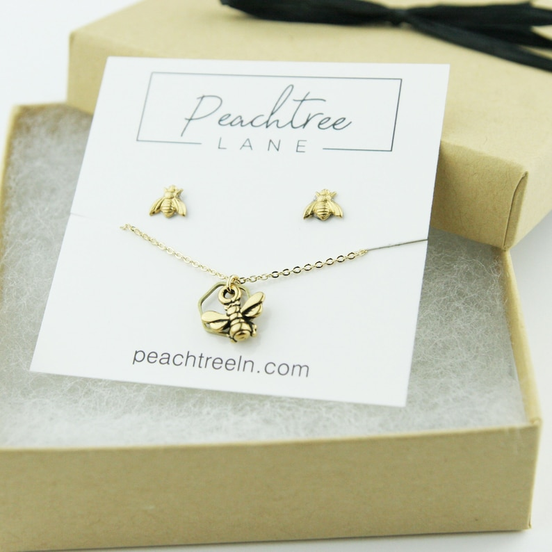 Nature Jewelry Honeybee Post Earrings Bee Hexagon Necklace Bridesmaid Gifts Tiny Brass Bee Earring Necklace Set Gift Set