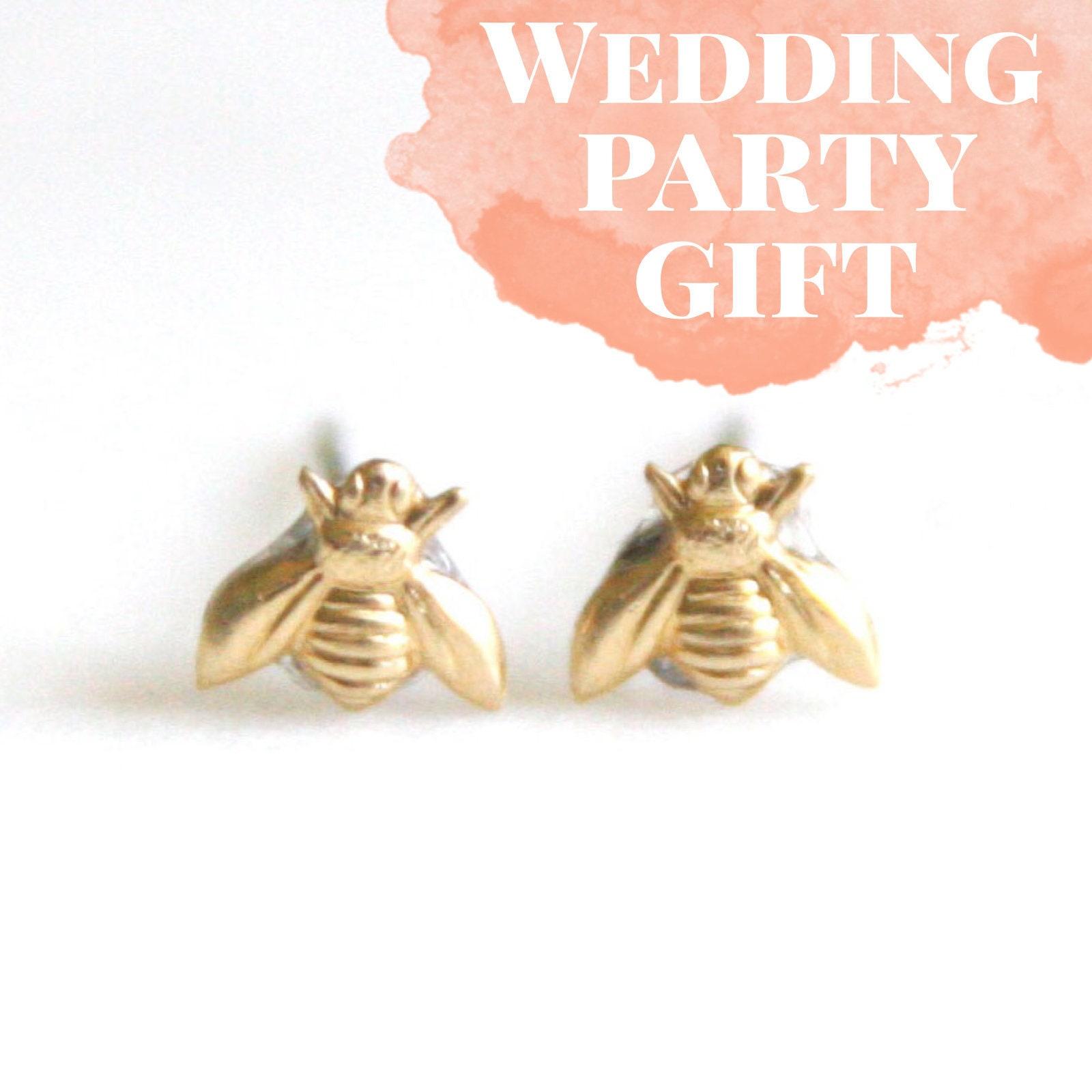 Tiny Brass Bee Earrings Honeybee Post Earrings Bee Themed