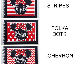 Disney Autograph Book - Stripe, Polka Dots or Chevron Minnie Mouse  with Bow - Your choice  - Free Personlalization PRIORITY MAIL