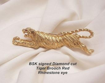 Parfait état signé oeil strass Rouge broche tigre de diamant BSK