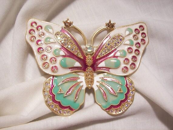 Spectacular KJL Huge Rhinestone Enamel Butterfly B