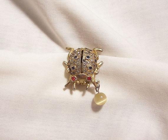 Coro Rhinestone Lady bug perfume Brooch Early 40's - image 5