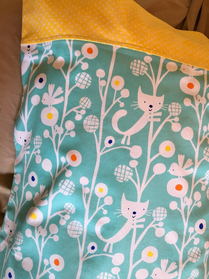 Twin Size Charity Item Birds and Kitties in Abstract Trees all on Aqua MadebyKids4Kids