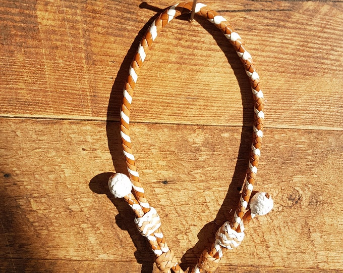 Braided Kangaroo Leather Adjustable Tag/ID Collar - Saddle Tan/Natural/White