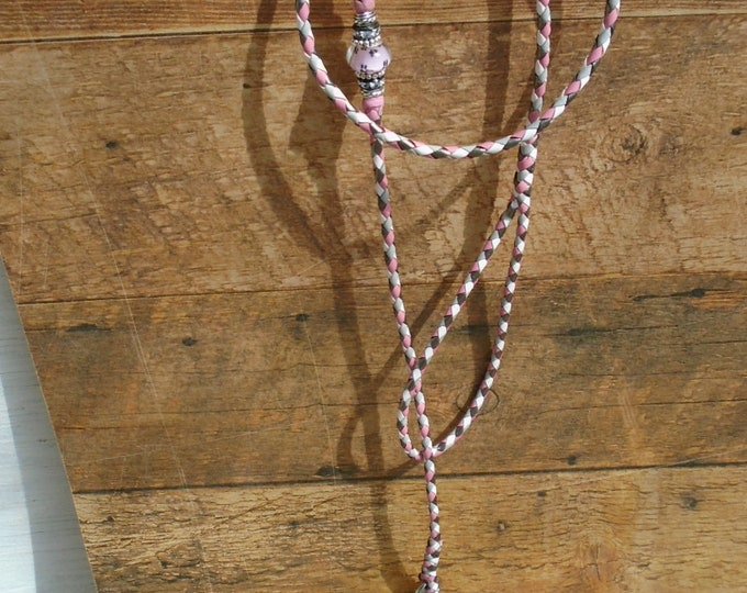 "Braided Kangaroo Leather Dog Show Lead  -White/Dove Grey/Pink/Bronze - 37"""