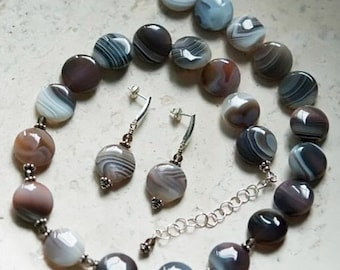 Bodacious Botwana Agate and Smoky Quartz Sterling Silver Necklace and Earrings Set