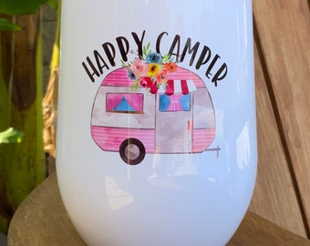Happy Camper Pink Trailer Stainless Steel Insulated Wine Tumbler With Lid Ready to Ship