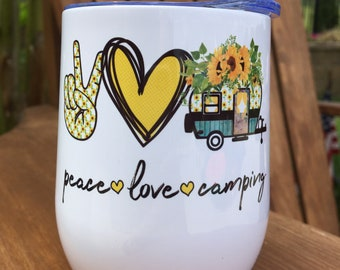 Peace Love Camping Sunflowers Stainless Steel Insulated Wine Tumbler With Lid