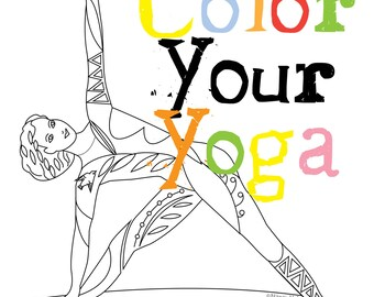 Yoga coloring book   Etsy
