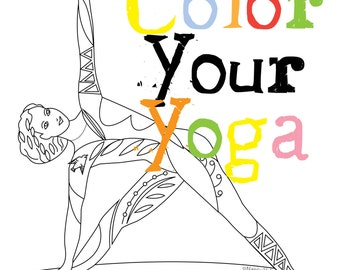 Yoga coloring book | Etsy