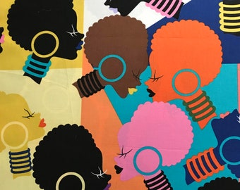 Afro girl fabric - bright pastels / BY THE YARD / african american fabric / ankara fabric / african fabric / ethnic fabric