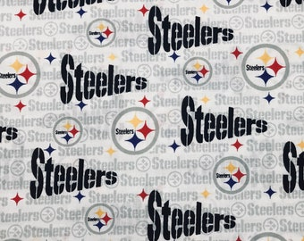 Pittsburgh Steelers wide cotton fabric white background NFL football face mask fabric