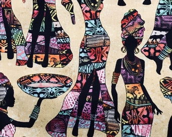 African Women Kenta in Sand Timeless Treasures Premium Cotton Fabric by the Yard